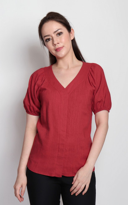 Puff Sleeves Linen Top - Red