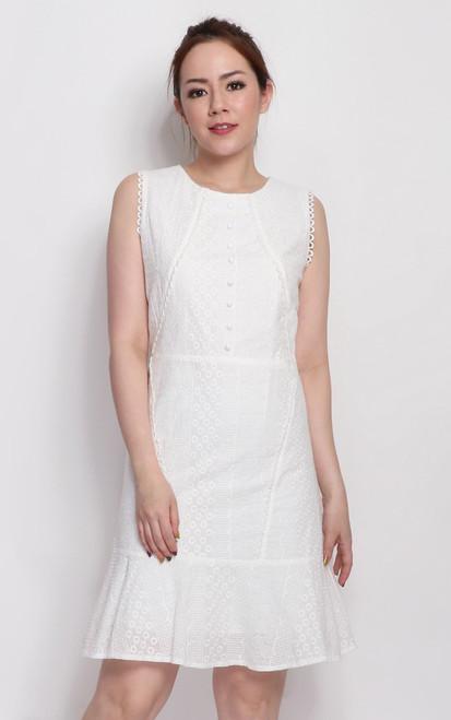 Eyelet Mermaid Hem Dress - White