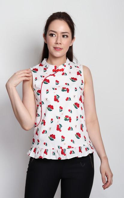 Cherry Frill Cheongsam Top - White