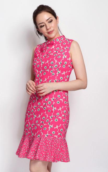 Floral Print Cheongsam - Pink