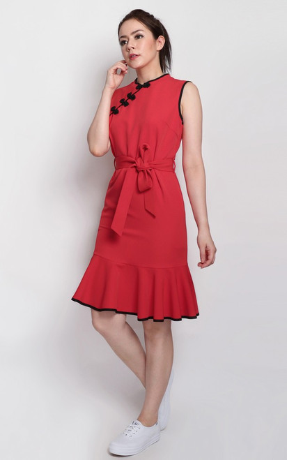 Contrast Trim Cheongsam - Red