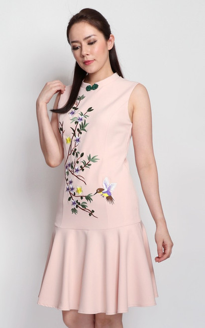 Embroidered Hummingbird Cheongsam - Peach Cream