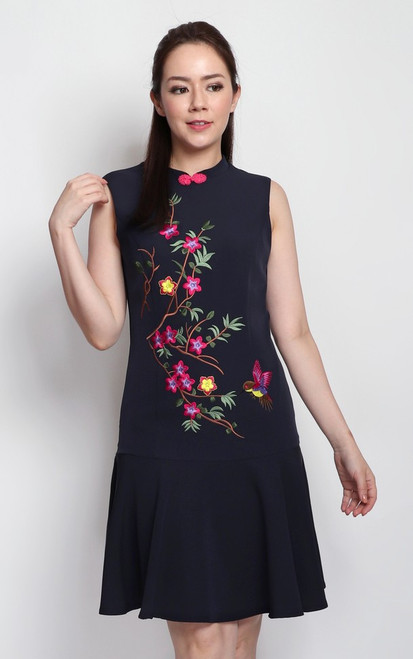 Embroidered Hummingbird Cheongsam - Navy