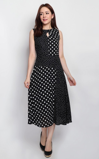 Polka Dot Keyhole Midi Dress