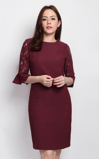 Lace Sides Dress - Wine