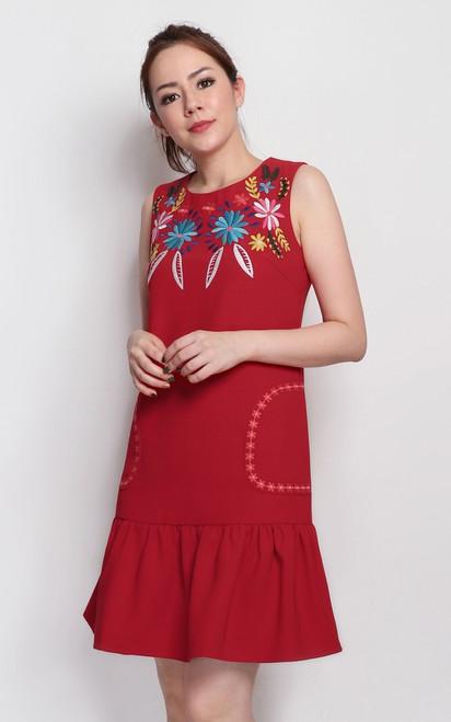 Embroidery Drop Waist Dress - Red