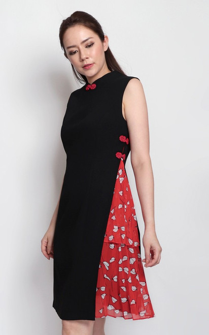 Side Pleats Cheongsam - Black