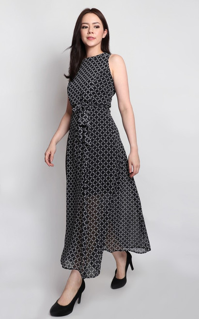 Printed Maxi Dress - Black
