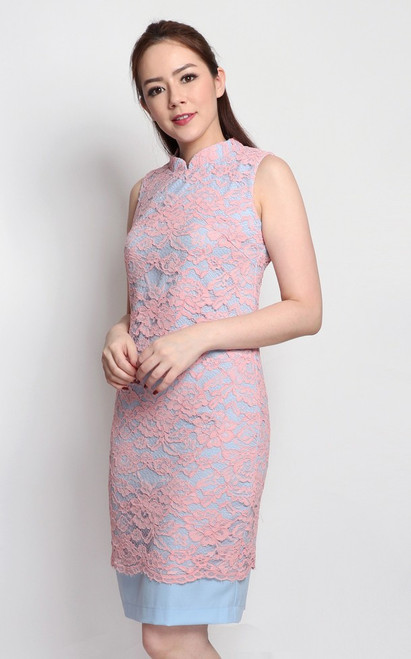 Lace Overlay Cheongsam - Pink