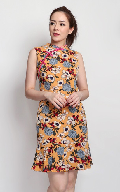 Floral Print Cheongsam - Honey