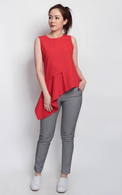 Asymmetrical Drape Top - Vermillion