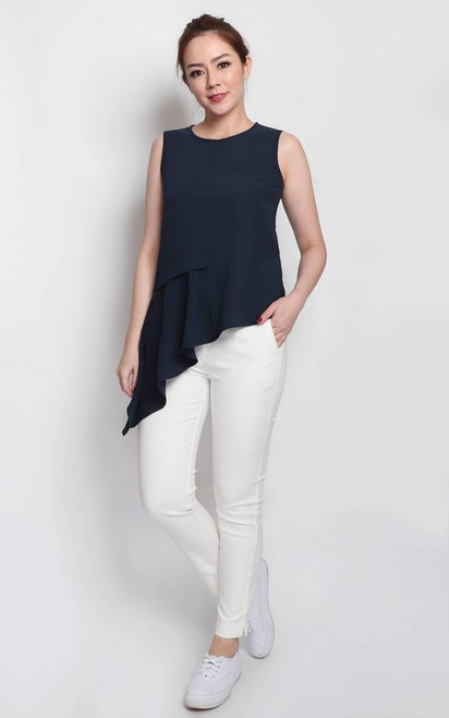 Asymmetrical Drape Top - Navy