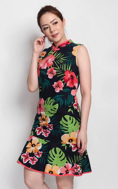 Tropical Floral Cheongsam - Midnight Blue