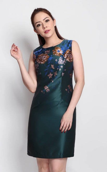 Floral Brocade Dress - Emerald