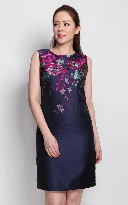 Floral Brocade Dress - Navy