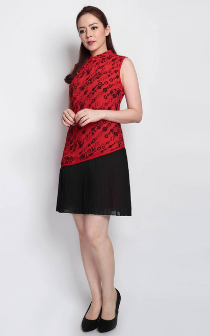 Asymmetrical Pleated Cheongsam - Red