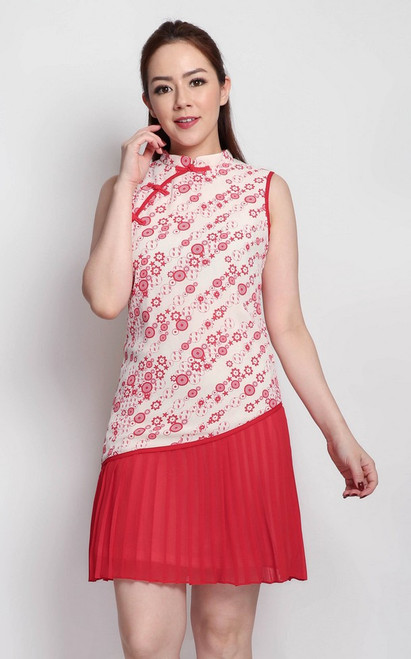 Asymmetrical Pleated Cheongsam - Cream