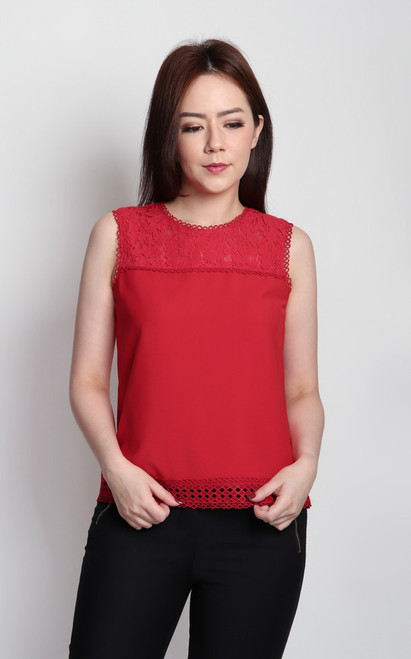 Lace Panel Top - Red