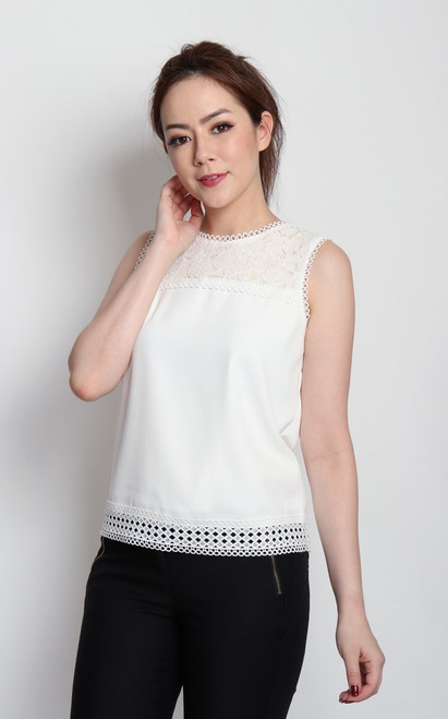 Lace Panel Top - White