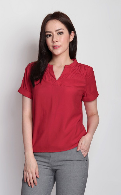 Notch Neck Top - Red