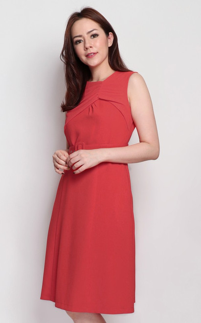Ruched Chiffon Panel Dress - Vermillion