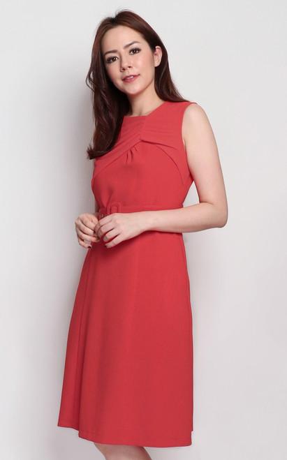 Ruched Chiffon Panel Dress - Vermillion