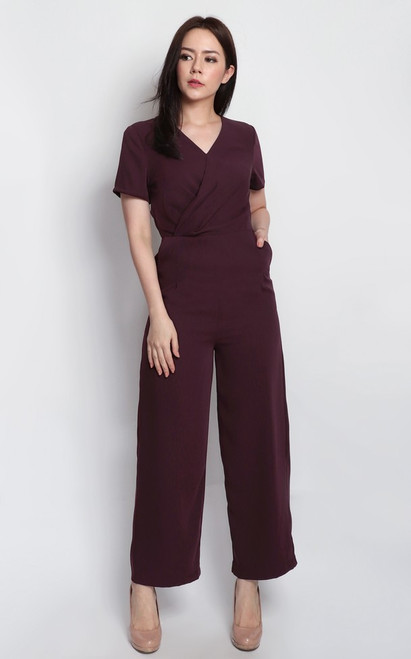 Wrap Top Jumpsuit - Wine