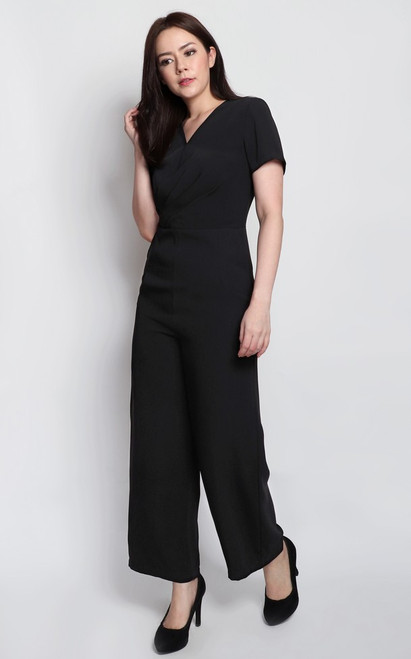 Wrap Top Jumpsuit - Black