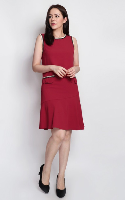 Rope Piped Dress - Crimson
