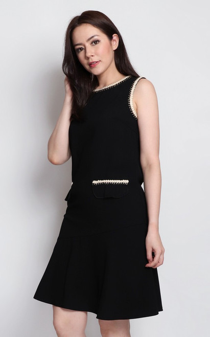 Rope Piped Dress - Black