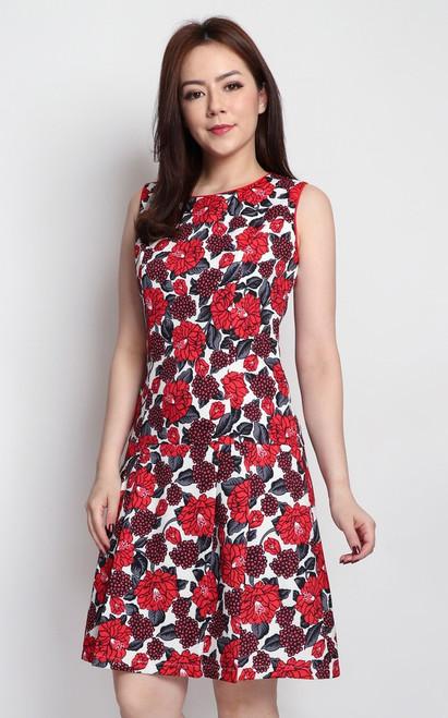 Floral Drop Waist Dress - Red