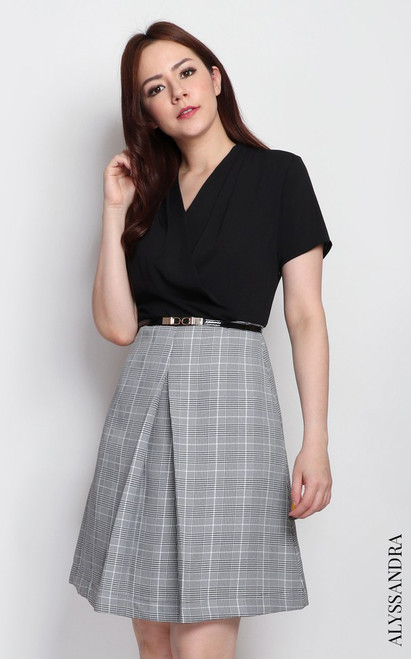 Checkered Bottom Dress - Black