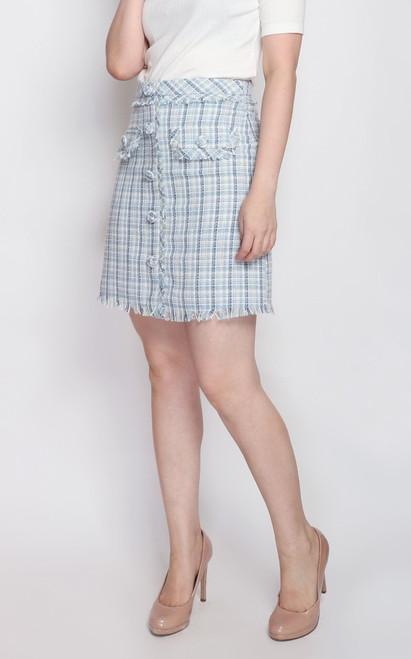 Tweed Skirt - Baby Blue