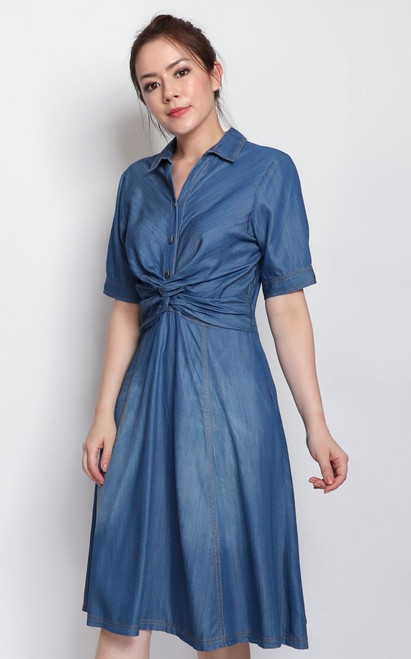 Knotted Waist Denim Dress