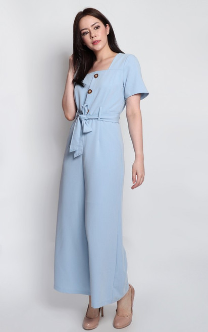 Square Neck Jumpsuit - Baby Blue