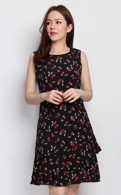 Cherry Print Tiered Hem Dress