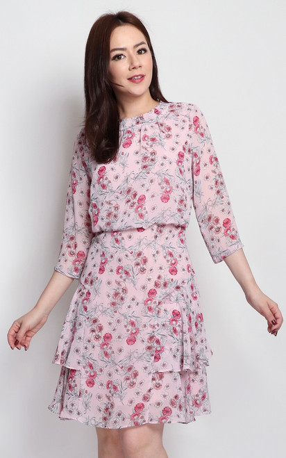 Floral Blouson Dress - Pink