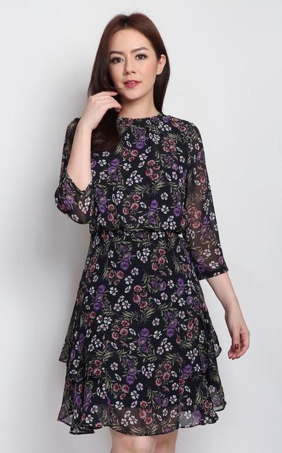 Floral Blouson Dress - Midnight Blue
