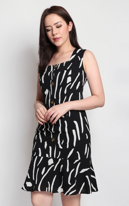 Monochrome Abstract Print Dress