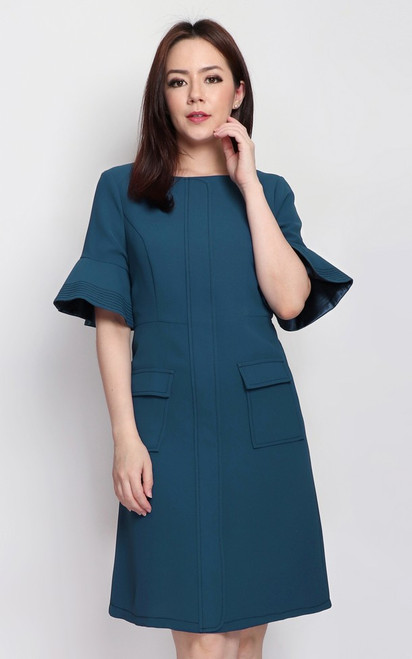 Trumpet Sleeves Dress - Teal Blue
