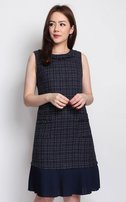 Pleated Hem Tweed Dress - Navy