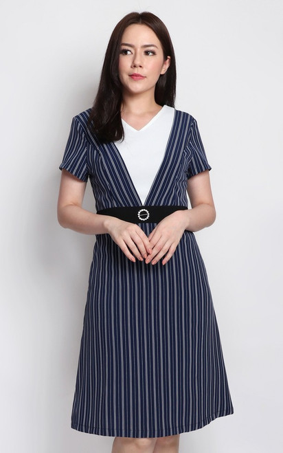 Striped V-Panel Dress