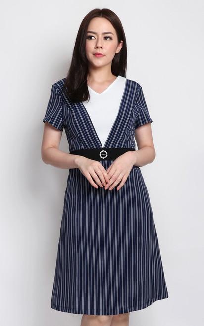 Striped V-Panel Dress