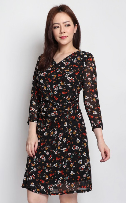 Floral Print Ruched Dress - Black