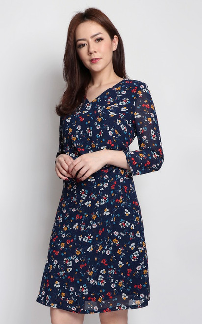 Floral Print Ruched Dress - Navy