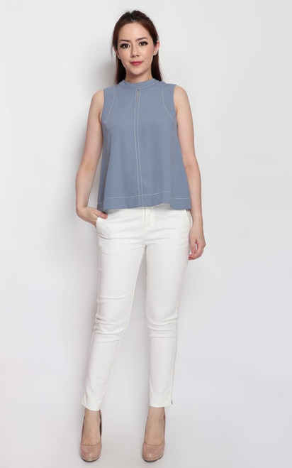 Keyhole Trapeze Top - Dusty Blue