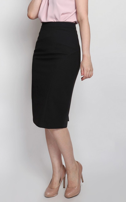 Pleated Back Pencil Skirt