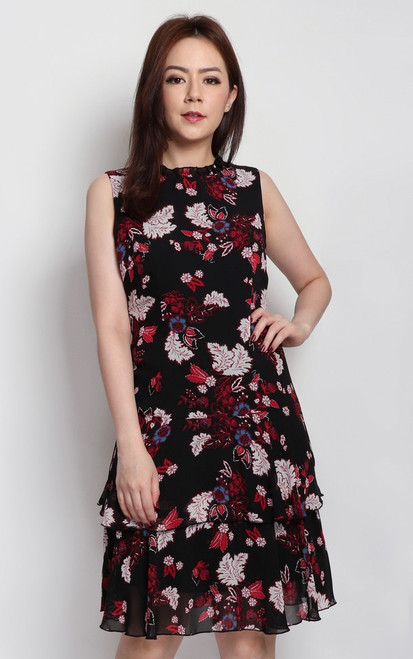 Printed Tiered Hem Dress - Red Floral