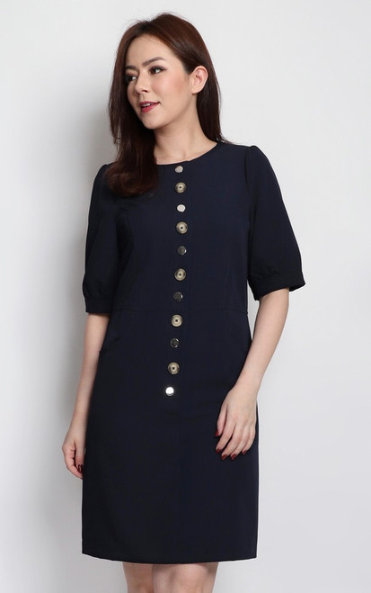 Contrast Buttons Dress