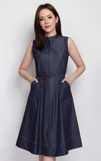 Contrast Stitch Chambray Dress